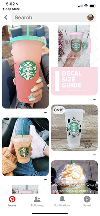 Pinterest Lens search results showing photos of coffee cups