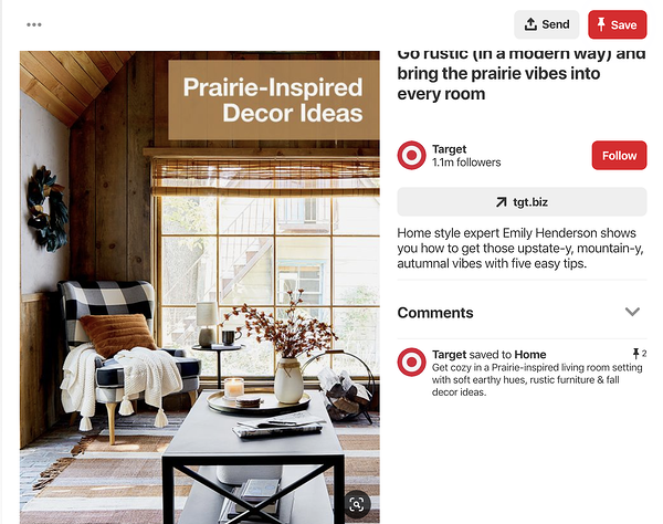 Pinterest post from Target showing products in lifestyle image