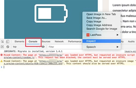 Console tool in Inspect view showing mixed content errors and warnings