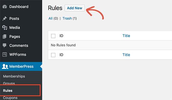 Add new rules in MemberPress