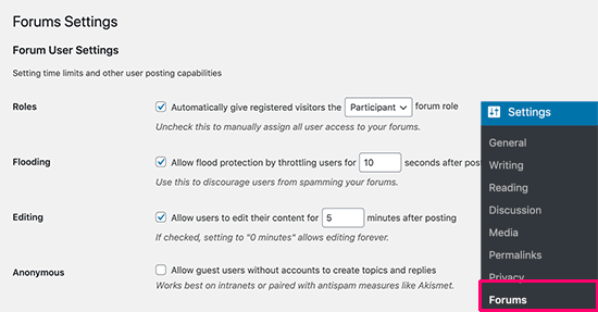 Forum settings page