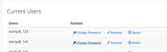 Changing database user password