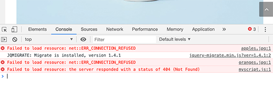 Failed to load resource error