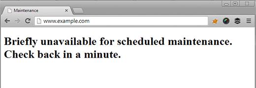 WordPress unavailable for maintenance error