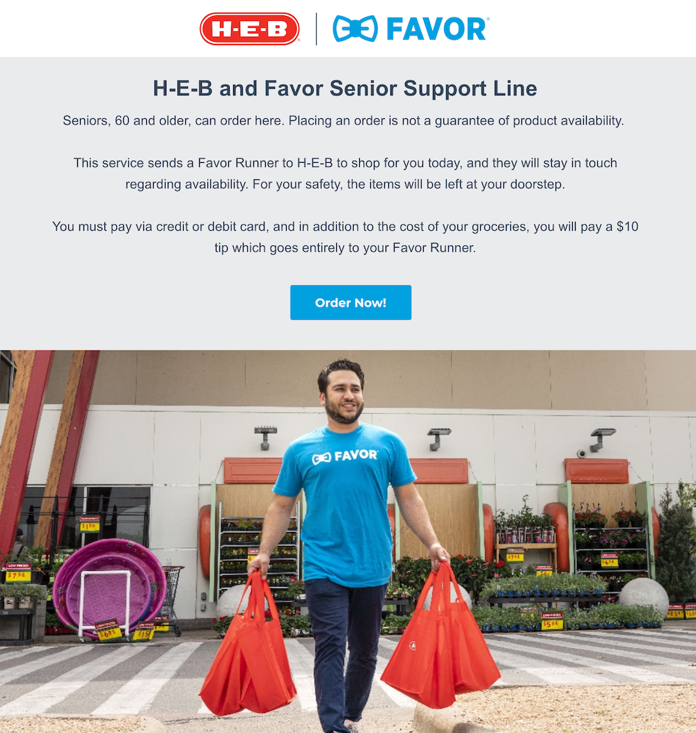 Favor Delivery essential food delivery landing page