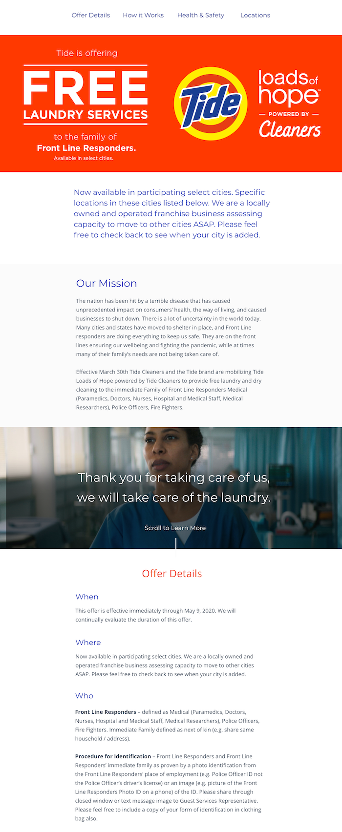 Tide Cleaners free laundry landing page