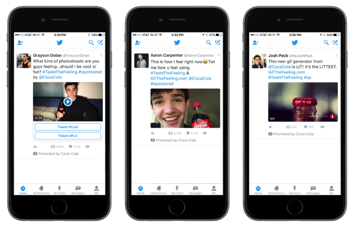 Twitter Conversational Ads Coca-Cola example