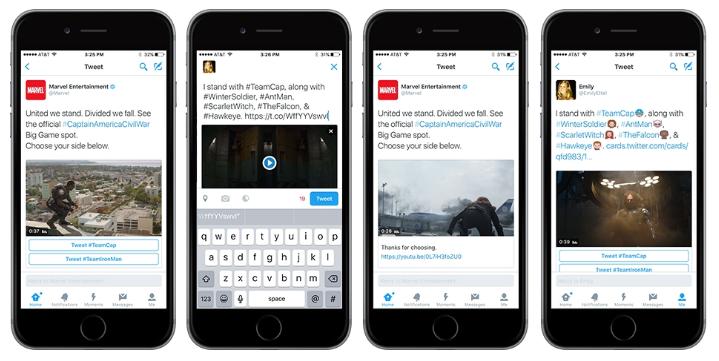 Twitter Conversational Ads Marvel example
