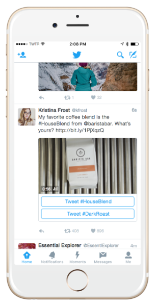 Twitter Conversational Ads retweet example
