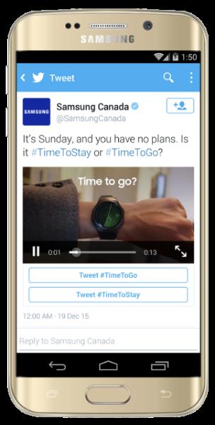 Twitter Conversational Ads Samsung example