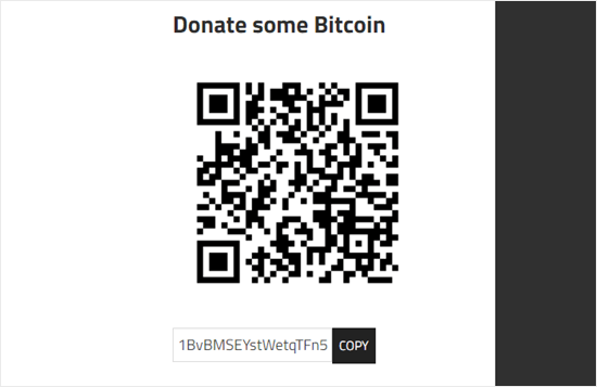 An example of a tip jar created using the Cryptocurrency Donation Box tip jar plugin