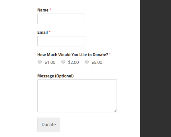 An example of a tip jar created using WPForms