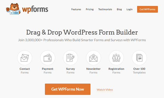 The WPForms plugin's website