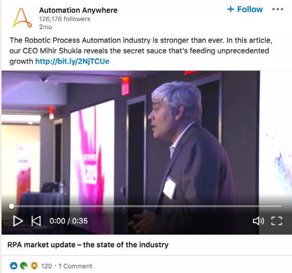 Automation's Anywhere's LinkedIn Live Ad