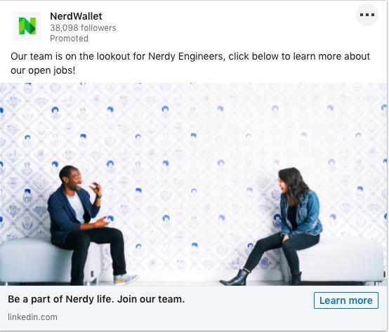 Example of NerdWallet's LinkedIn Dynamic Ad