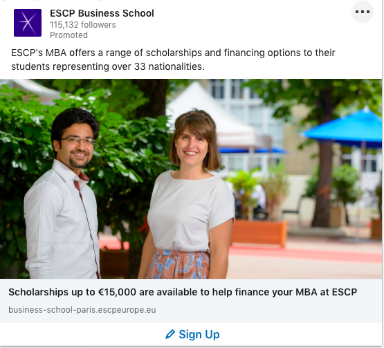 ESCP's LinkedIn Spotlight Ad