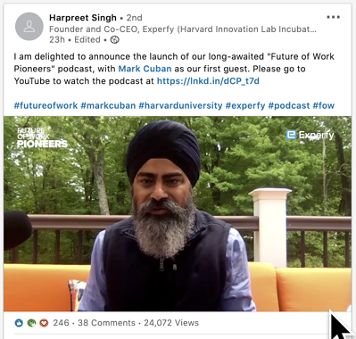 Harpreet Singh announces The Future of Work Podcast in a video on LinkedIn