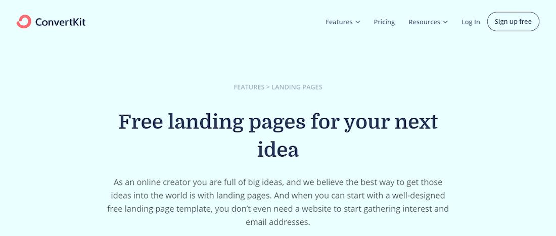 ConvertKit landing page software