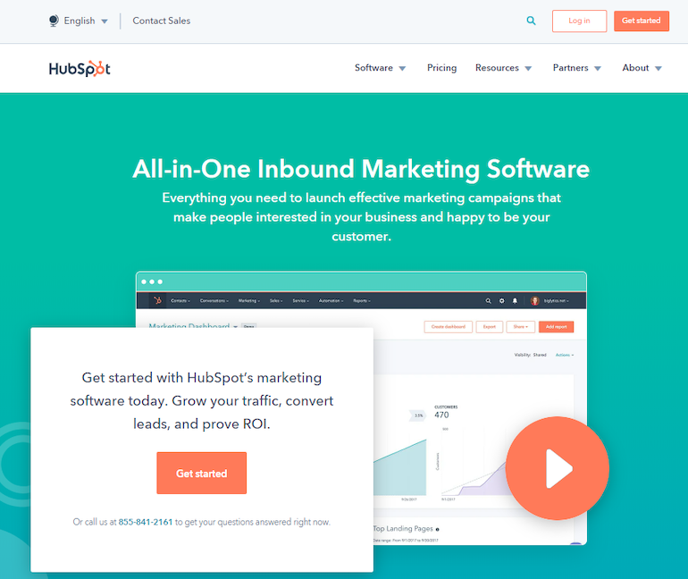 HubSpot marketing software landing page review