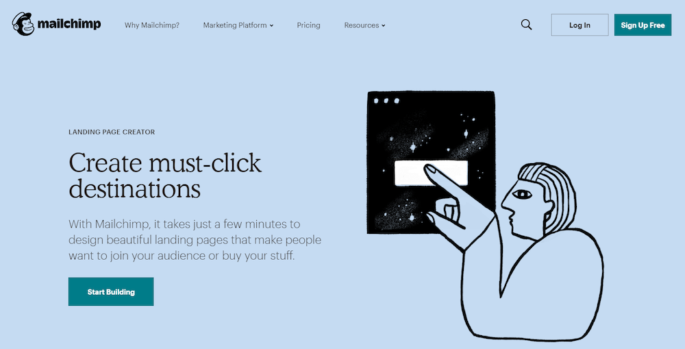 Mailchimp marketing software landing page review