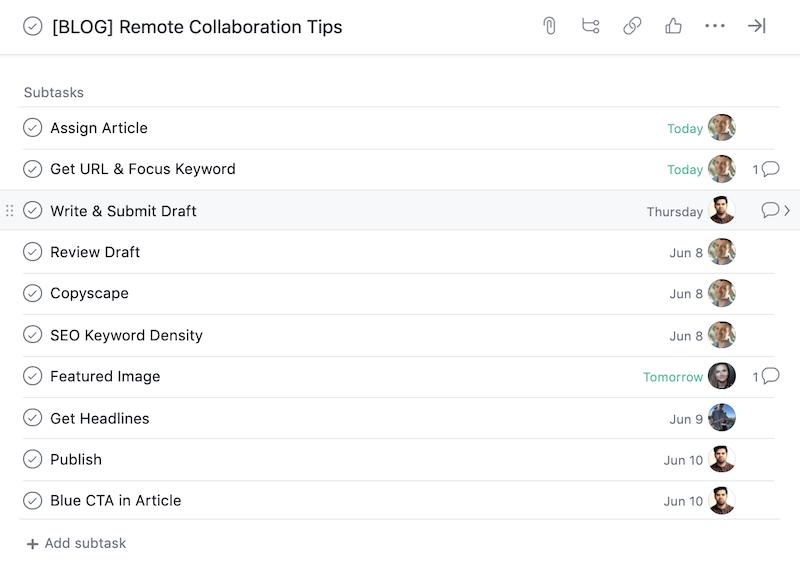 remote collaboration Asana project list