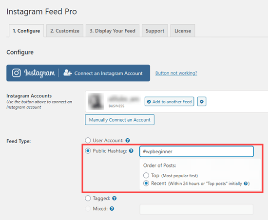 Switch to a hashtag feed of posts