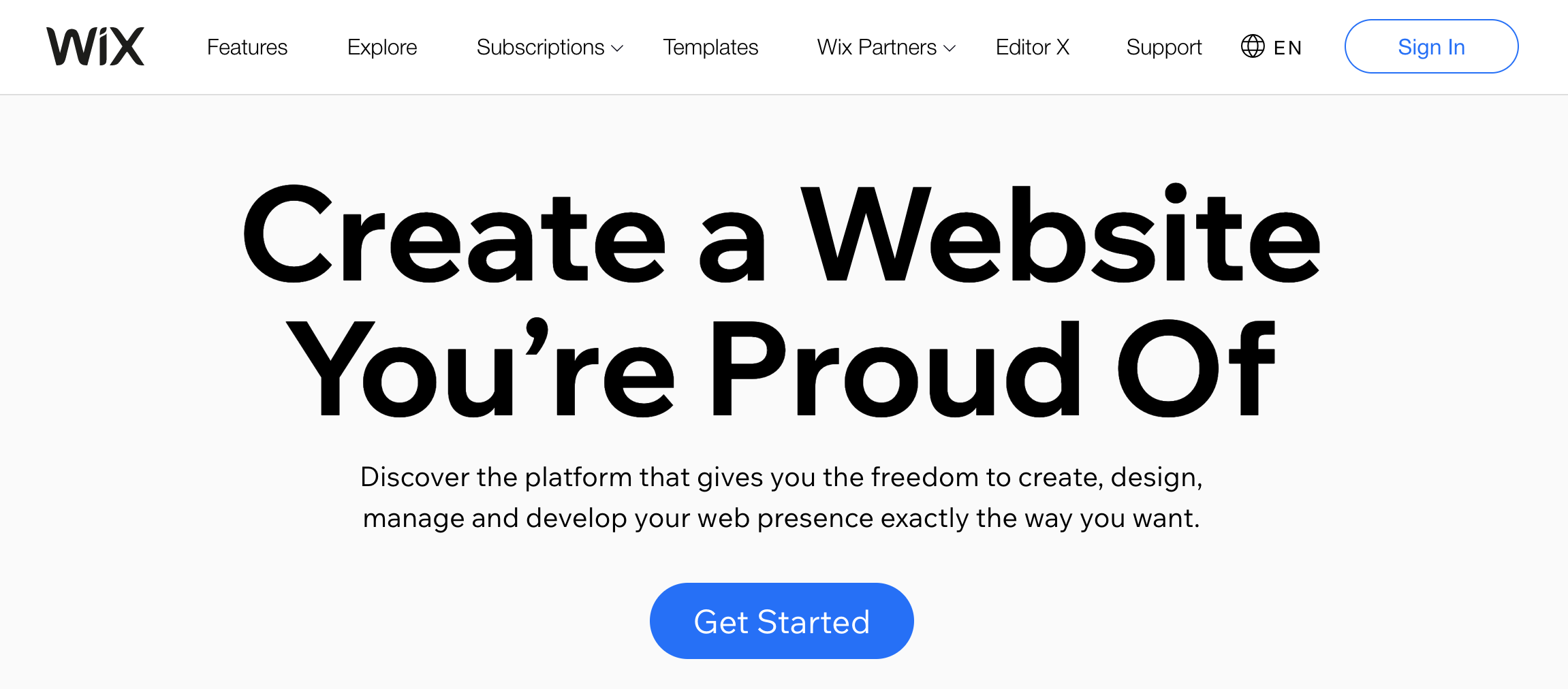 Wix website building software landing page review