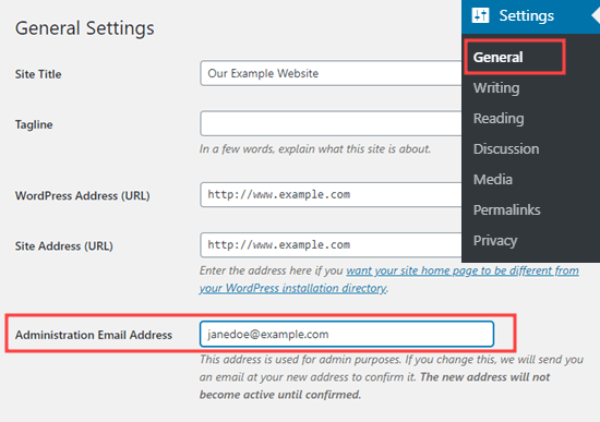 Checking or changing the WordPress Administration email address