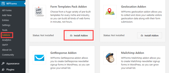 Installing the WPForms form template pack addon