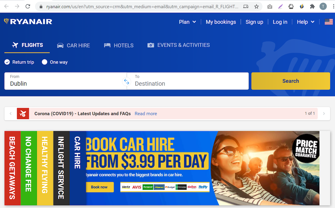 banner ad tracking Ryan Air example