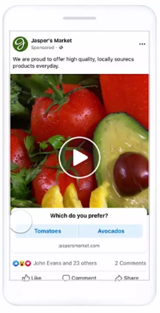 Facebook poll ads example