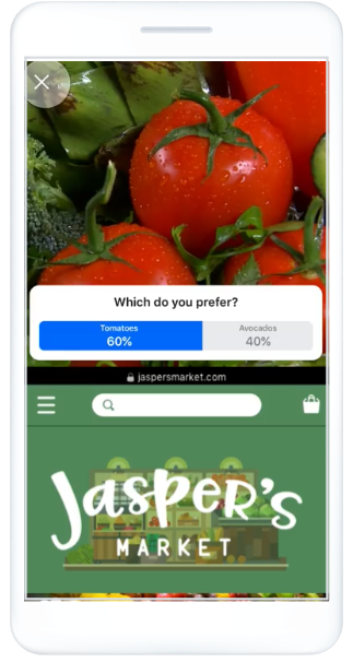 Facebook poll ads post-click landing page