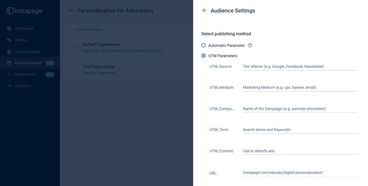 Instapage Personalization banner ad tracking generator