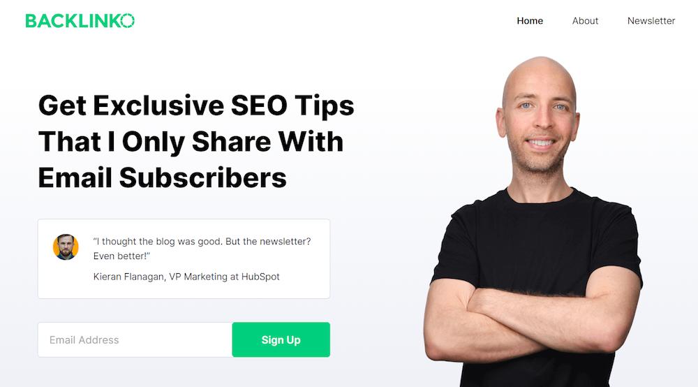 permission-based marketing Backlinko email signup