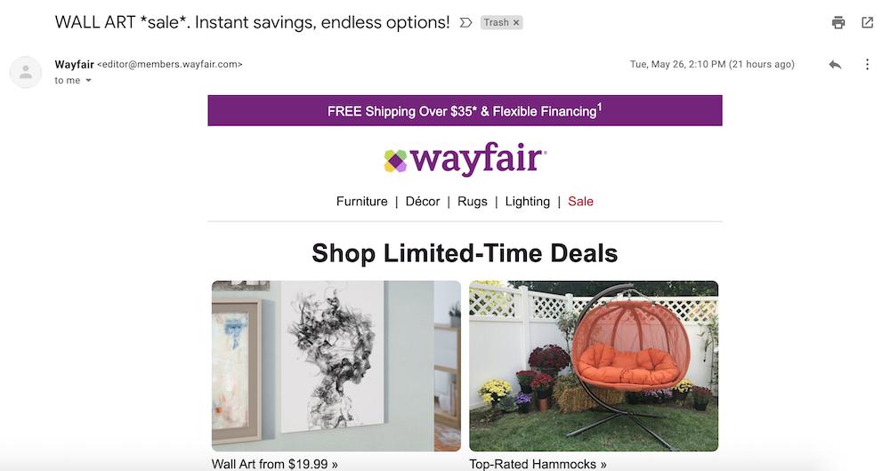Wayfair follow-up via email