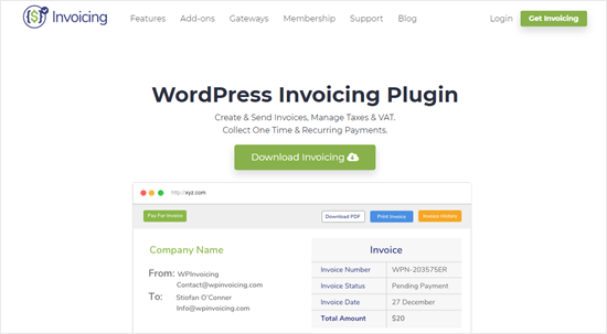 The WP Invoicing website