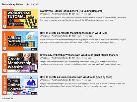 WPBeginner Playlists on YouTube