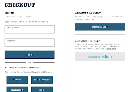 Yeti guest checkout page