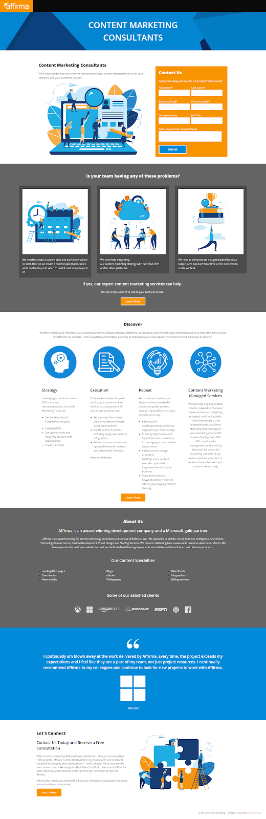 Affirma consulting landing page