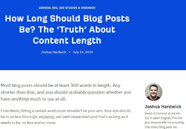 blog post example from ahrefs's blog that reads 'how long should blog posts be?'