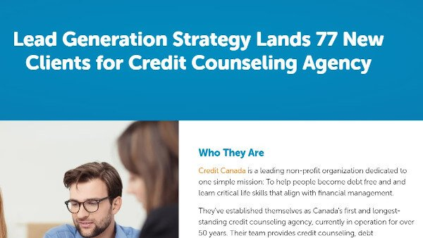 """case study example from bluleadz that reads """"lead generation strategy lands 77 new clients for credit counseling agency"""""""