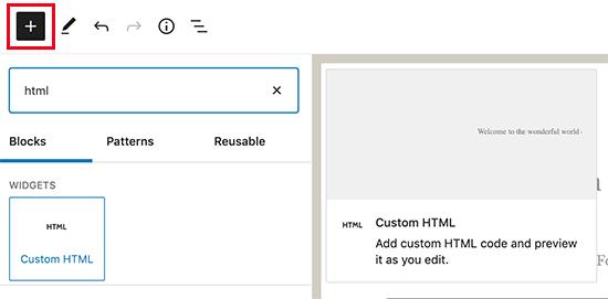 Adding custom HTML block in WordPress
