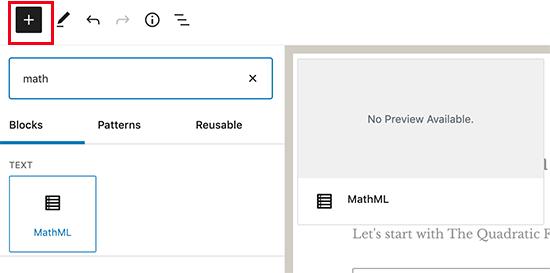 Adding MathML block