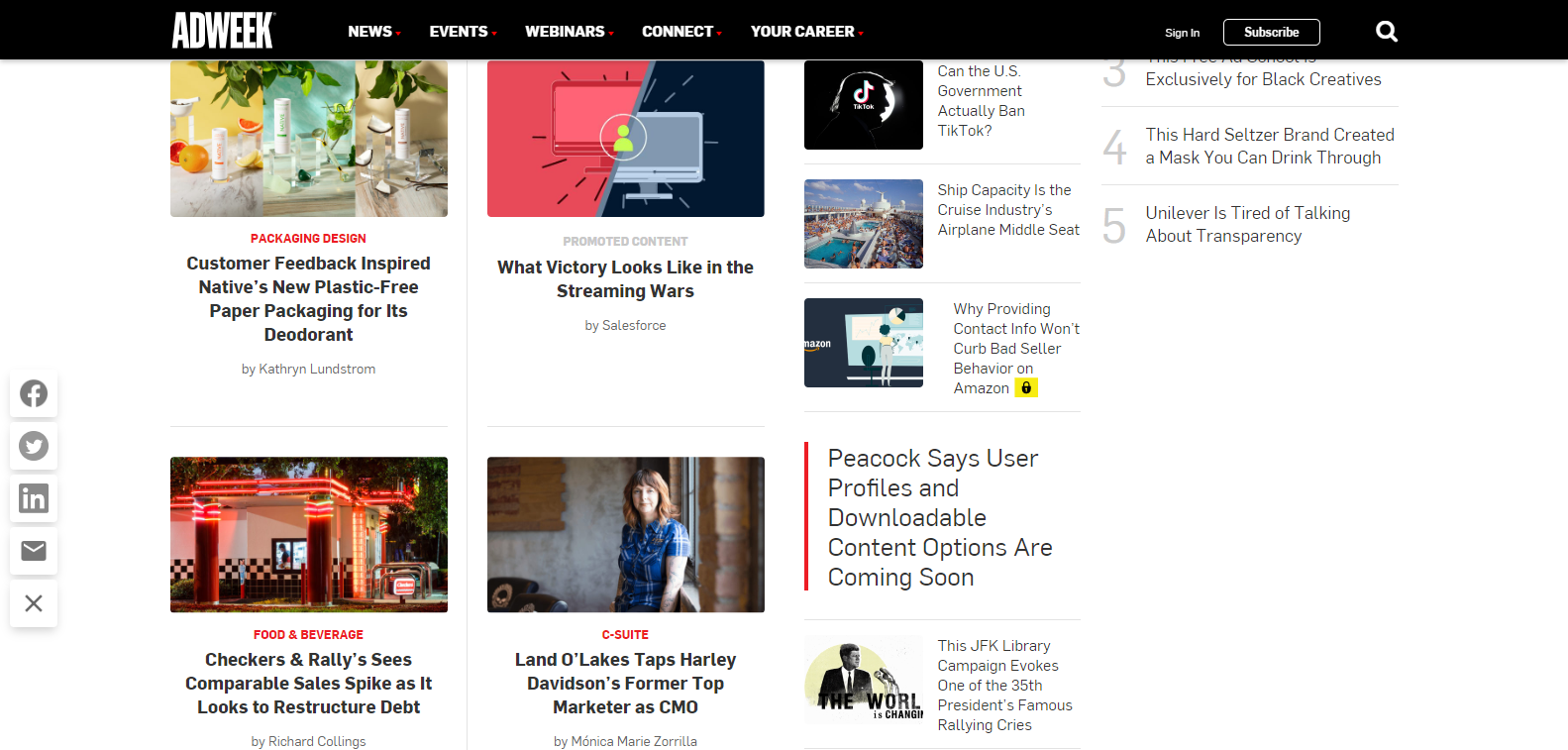 Sponsored content on Adweek news feed