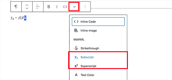 Using subscript and superscript in WordPress paragraph block