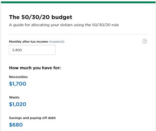 """tool example from nerdwallet that reads """"the 50/30/20 budget"""" and is a budget calculator"""