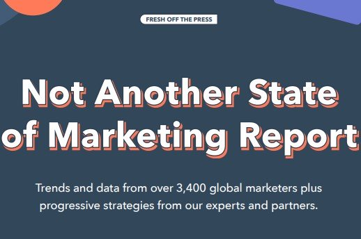"""whitepaper example from hubspot that reads: """"not another state of marketing report"""""""