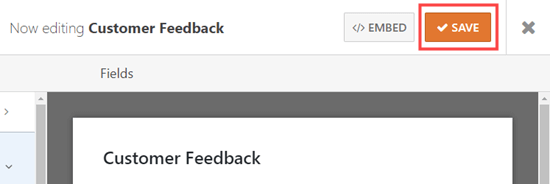 Save the customer feedback form after editing