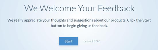The conversational questionnaire - user clicks the Start button to begin