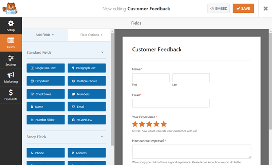 The Survey template in the WPForms editor